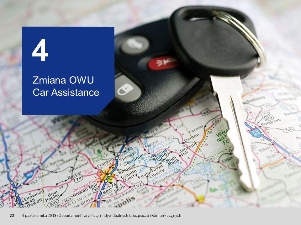 © Allianz SE 2011 4 października 2013 / Departament Taryfikacji i Indywidualnych Ubezpieczeń Komunikacyjnych 23 4 Zmiana OWU Car Assistance