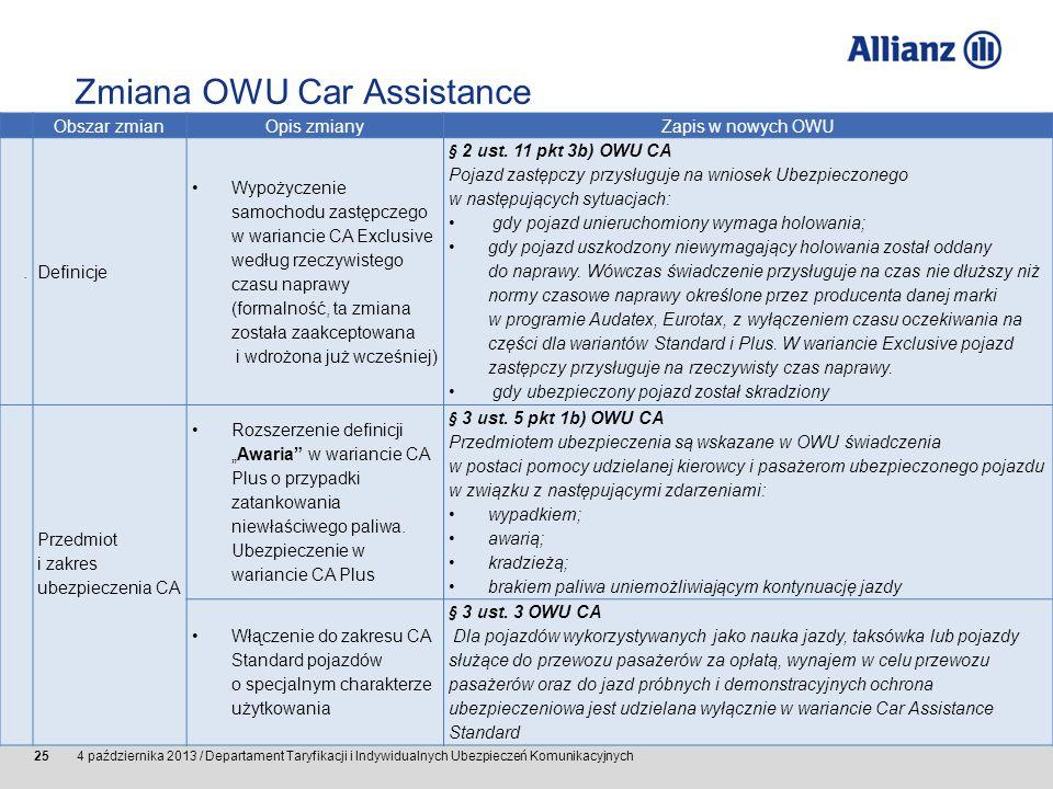 © Allianz SE 2011 4 października 2013 / Departament Taryfikacji i Indywidualnych Ubezpieczeń Komunikacyjnych 25 Obszar zmianOpis zmianyZapis w nowych