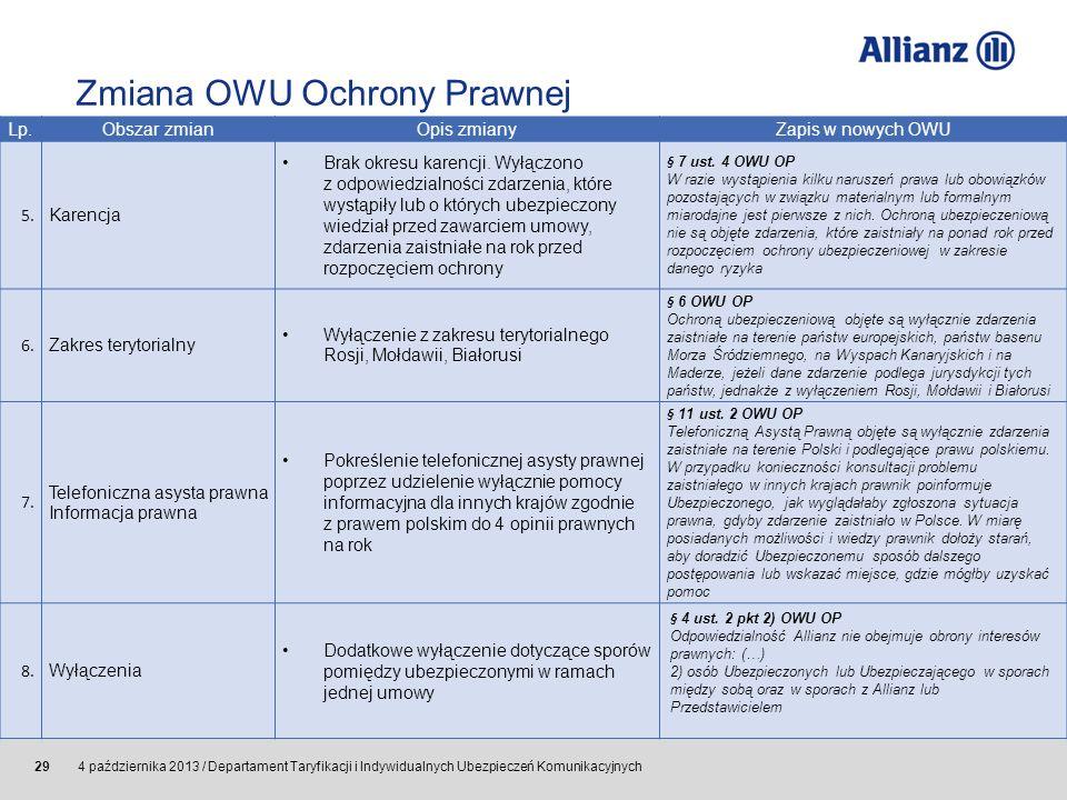 © Allianz SE 2011 4 października 2013 / Departament Taryfikacji i Indywidualnych Ubezpieczeń Komunikacyjnych 29 Lp.Obszar zmian Opis zmianyZapis w now
