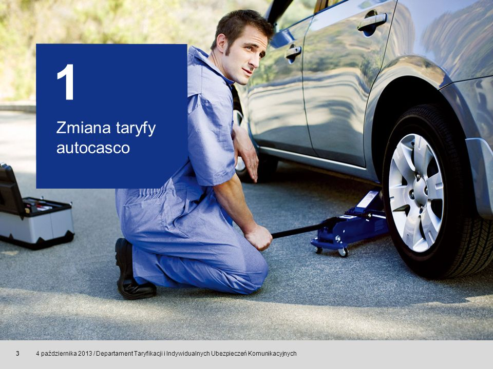 © Allianz SE 2011 4 października 2013 / Departament Taryfikacji i Indywidualnych Ubezpieczeń Komunikacyjnych 14 Zmiana OWU autocasco zmiana definiowania niektórychpojęć usunięcie definicji pojęć niewymagających doprecyzowania, takich jak: oględziny pojazdu, pojazd używany do jazdy demonstracyjnej, pojazd używany do jazdy próbnej, redukcja sumy ubezpieczenia, suma ubezpieczenia brutto, suma ubezpieczenia netto, uzupełniająca umowa ubezpieczenia, użycie pojazdu jako narzędzia przestępstwa, wartość rynkowa pojazdu brutto, wartość rynkowa pojazdu netto, wniosek o zawarcie umowy ubezpieczenia, zamieszki usunięcie zapisów dotyczących wariantu ekonomicznego bez potrąceń sprecyzowanie zapisów dotyczących wyłączenia odpowiedzialności osób upoważnionych do użytkowania pojazdu dodanie wyłączenia dotyczącego: otwarcia pokrywy silnika w trakcie jazdy zatarcia silnika i jego osprzętu dodanie zapisów precyzujących odpowiedzialność Allianz w Klauzulach Stała Wartość Rynkowa i Równa Droga 3.