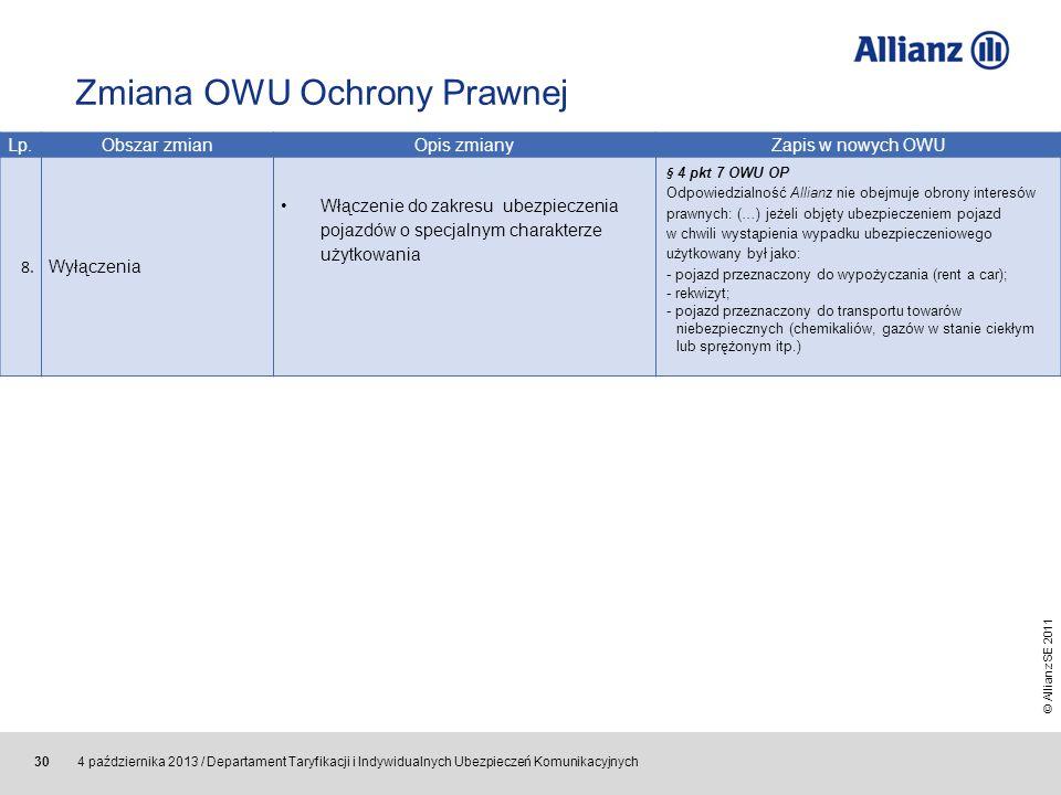 © Allianz SE 2011 4 października 2013 / Departament Taryfikacji i Indywidualnych Ubezpieczeń Komunikacyjnych 30 Lp.Obszar zmian Opis zmianyZapis w now