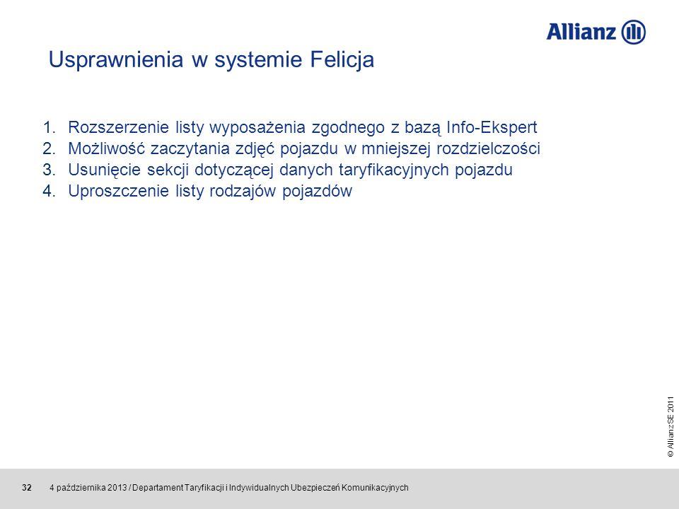 © Allianz SE 2011 4 października 2013 / Departament Taryfikacji i Indywidualnych Ubezpieczeń Komunikacyjnych 32 Usprawnienia w systemie Felicja 1.Rozs