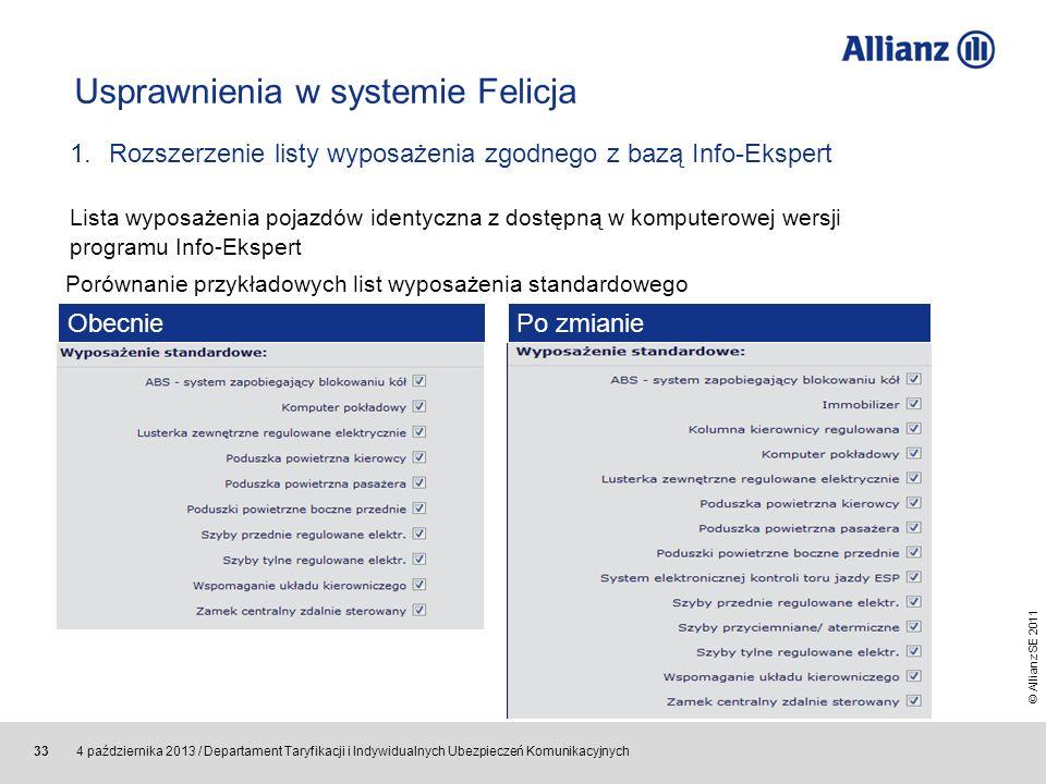 © Allianz SE 2011 4 października 2013 / Departament Taryfikacji i Indywidualnych Ubezpieczeń Komunikacyjnych 33 Usprawnienia w systemie Felicja 1.Rozs