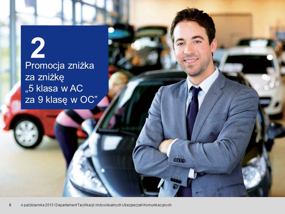 © Allianz SE 2011 4 października 2013 / Departament Taryfikacji i Indywidualnych Ubezpieczeń Komunikacyjnych 6 2 Promocja zniżka za zniżkę 5 klasa w A