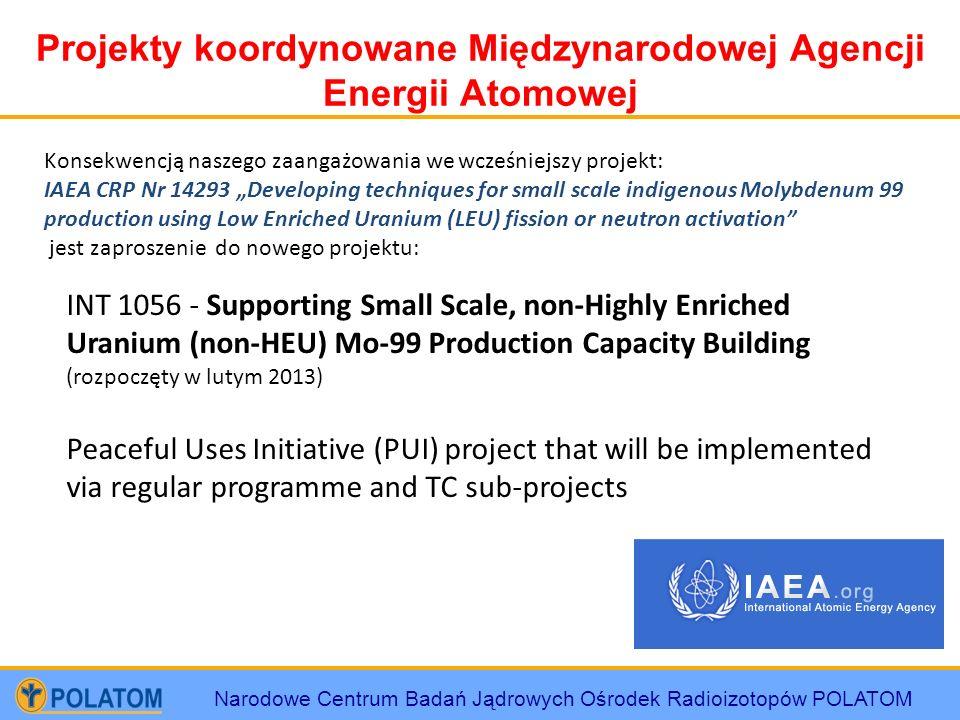 Narodowe Centrum Badań Jądrowych Ośrodek Radioizotopów POLATOM Projekty koordynowane Międzynarodowej Agencji Energii Atomowej INT 1056 - Supporting Sm