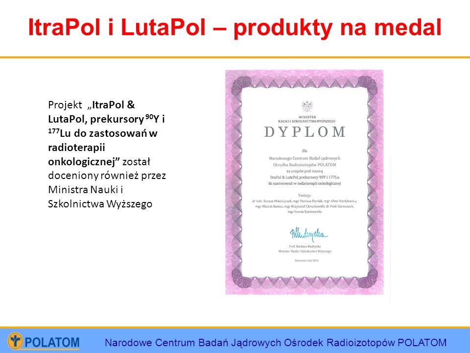 Narodowe Centrum Badań Jądrowych Ośrodek Radioizotopów POLATOM ItraPol i LutaPol – produkty na medal Projekt ItraPol & LutaPol, prekursory 90 Y i 177