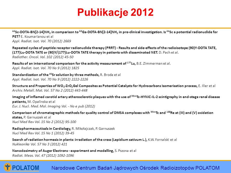 Narodowe Centrum Badań Jądrowych Ośrodek Radioizotopów POLATOM Publikacje 2012 44 Sc-DOTA-BN[2-14]NH 2 in comparison to 68 Ga-DOTA-BN[2-14]NH 2 in pre