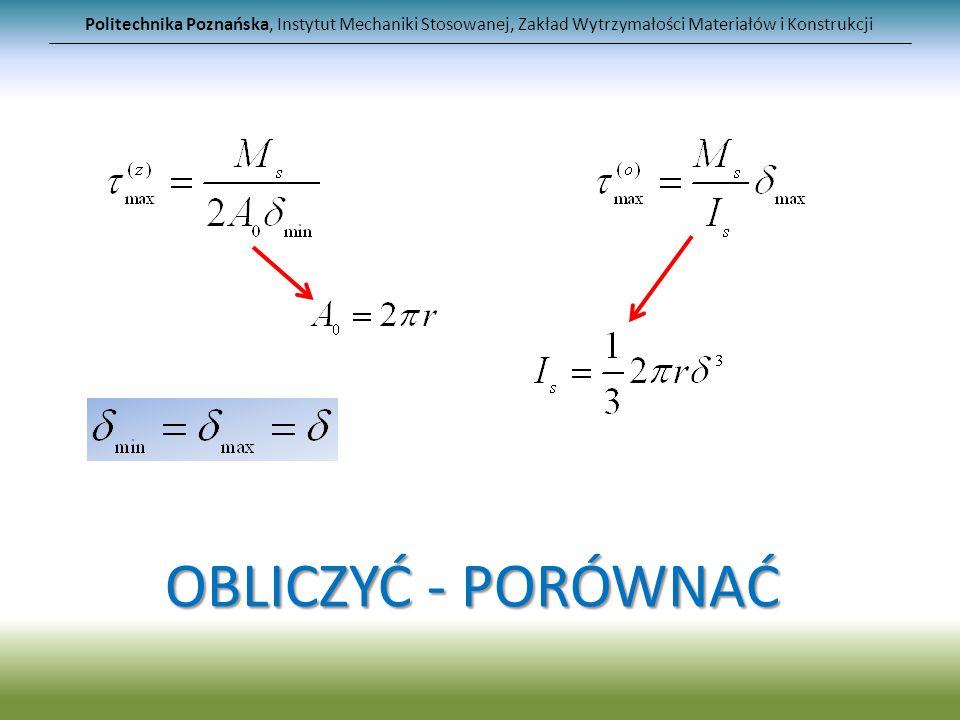 Politechnika Poznańska, Instytut Mechaniki Stosowanej, Zakład Wytrzymałości Materiałów i Konstrukcji OBLICZYĆ - PORÓWNAĆ