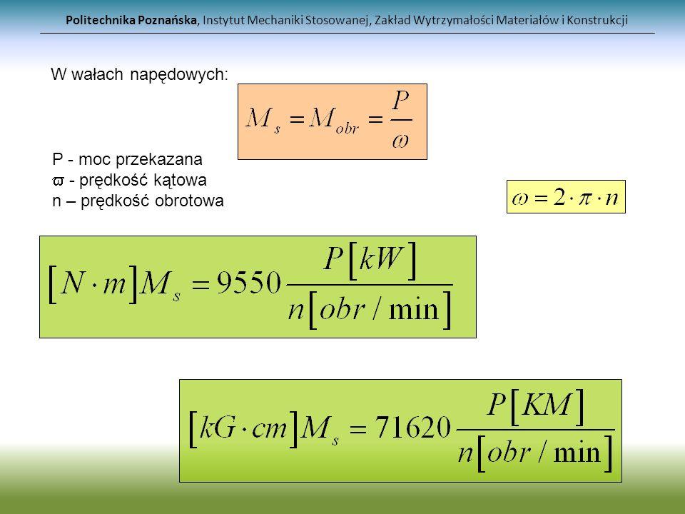 Politechnika Poznańska, Instytut Mechaniki Stosowanej, Zakład Wytrzymałości Materiałów i Konstrukcji Zadanie1: Dobrać średnicę wału przenoszonego moc P=70kW przy prędkości obrotowej n=1800obr/min, jeśli t=100MPa.