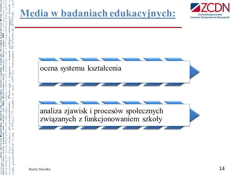Media w badaniach edukacyjnych: Beata Standio 14 ocena systemu kształcenia analiza zjawisk i procesów społecznych związanych z funkcjonowaniem szkoły
