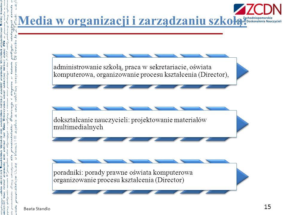 Beata Standio 15 Media w organizacji i zarządzaniu szkołą: administrowanie szkołą, praca w sekretariacie, oświata komputerowa, organizowanie procesu k