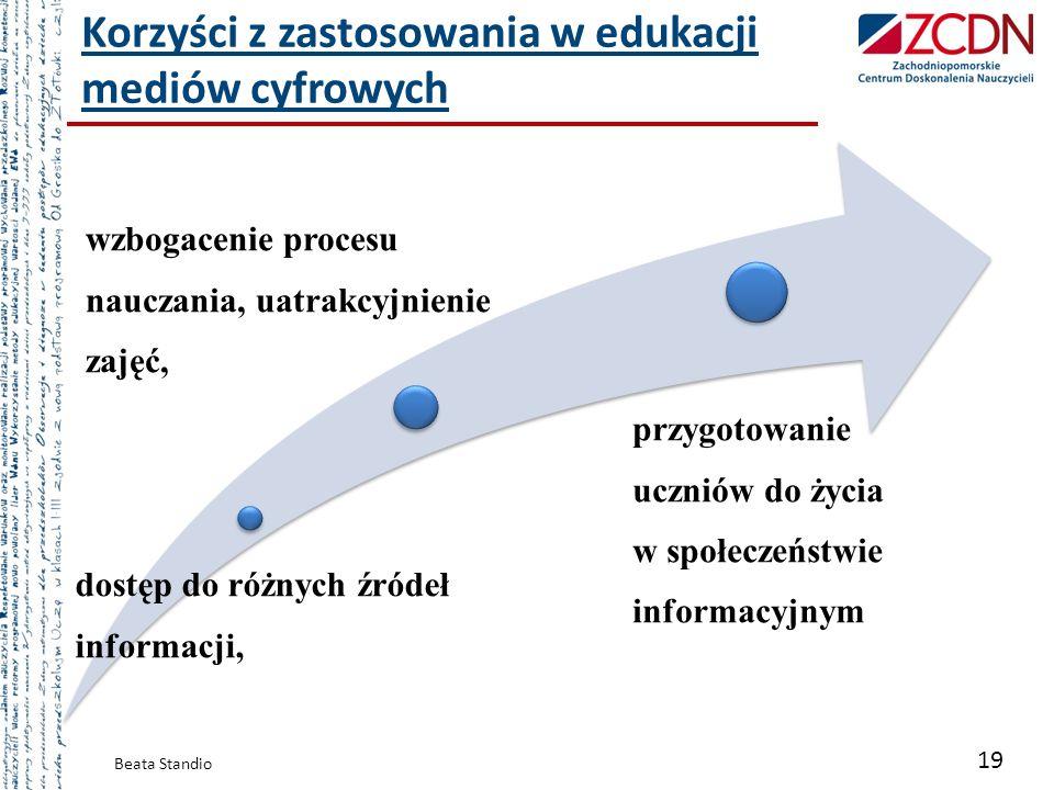 Korzyści z zastosowania w edukacji mediów cyfrowych Beata Standio 19 dostęp do różnych źródeł informacji, wzbogacenie procesu nauczania, uatrakcyjnien