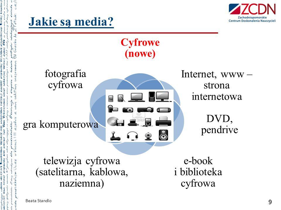 Cyfrowe (nowe) Internet, www – strona internetowa DVD, pendrive e-book i biblioteka cyfrowa telewizja cyfrowa (satelitarna, kablowa, naziemna) gra kom