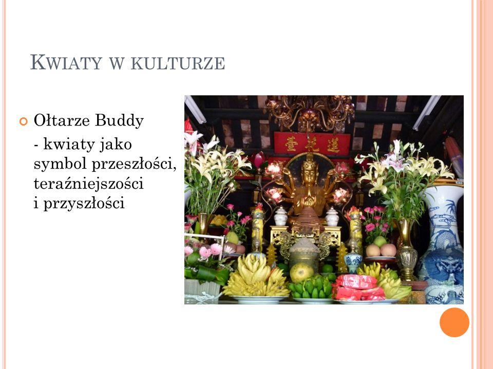 K WIATY W KULTURZE Ołtarze Buddy - kwiaty jako symbol przeszłości, teraźniejszości i przyszłości