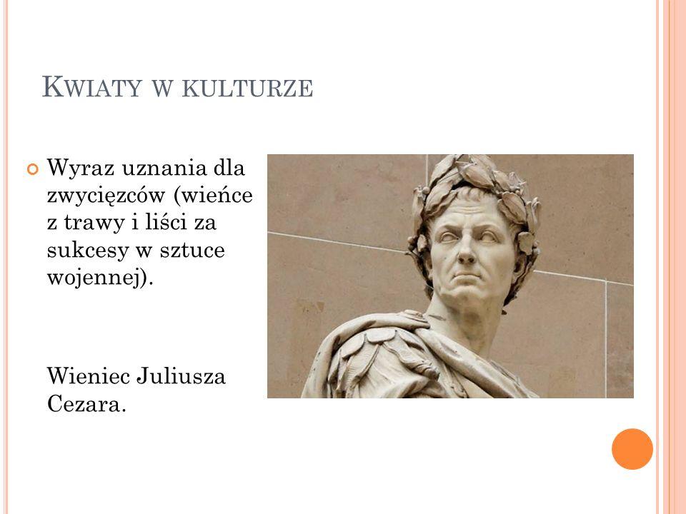 K WIATY W KULTURZE Wyraz uznania dla zwycięzców (wieńce z trawy i liści za sukcesy w sztuce wojennej). Wieniec Juliusza Cezara.