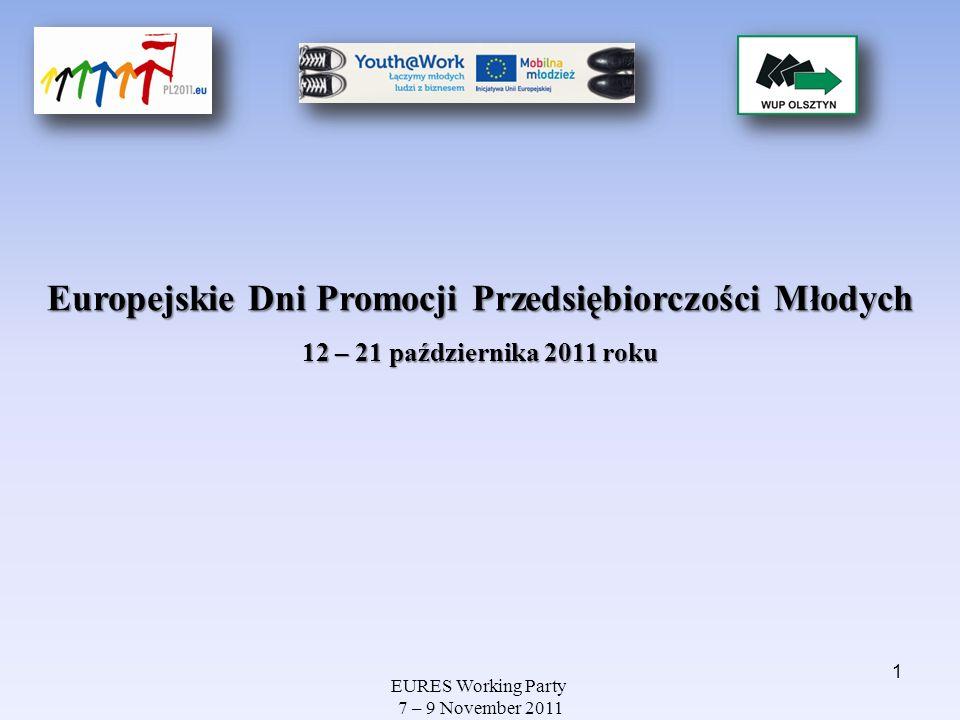 EURES Working Party 7 – 9 November 2011 Europejskie Dni Promocji Przedsiębiorczości Młodych 12 – 21 października 2011 roku 1