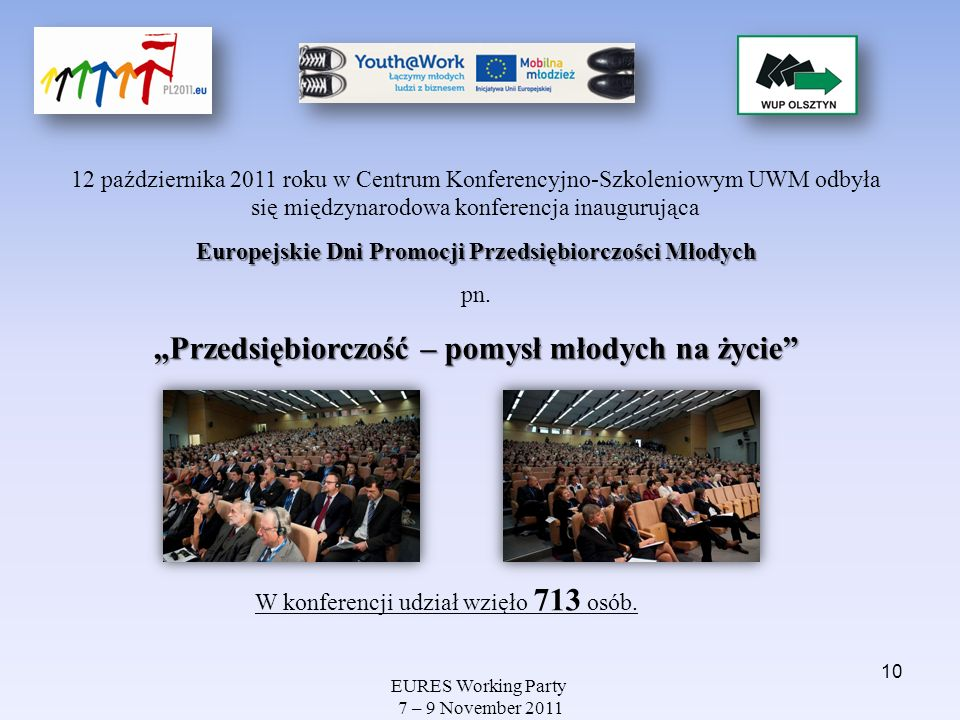 EURES Working Party 7 – 9 November 2011 12 października 2011 roku w Centrum Konferencyjno-Szkoleniowym UWM odbyła się międzynarodowa konferencja inaug
