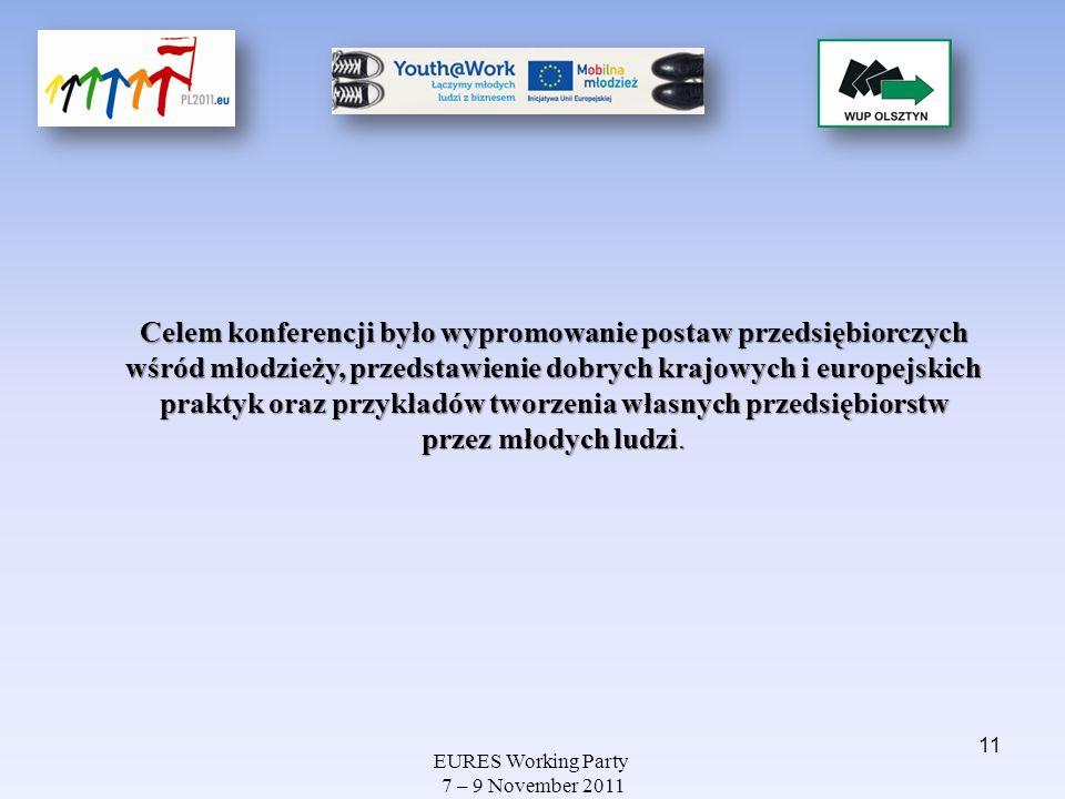 EURES Working Party 7 – 9 November 2011 Celem konferencji było wypromowanie postaw przedsiębiorczych wśród młodzieży, przedstawienie dobrych krajowych