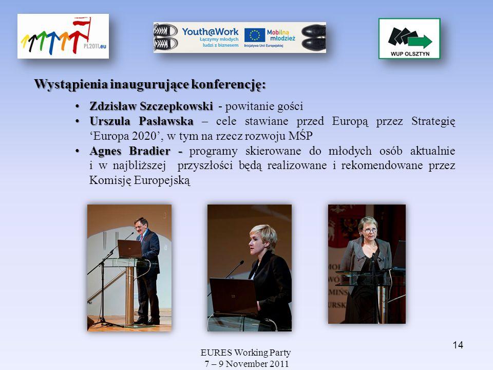 EURES Working Party 7 – 9 November 2011 Wystąpienia inaugurujące konferencję: Zdzisław Szczepkowski Zdzisław Szczepkowski - powitanie gości Urszula Pa
