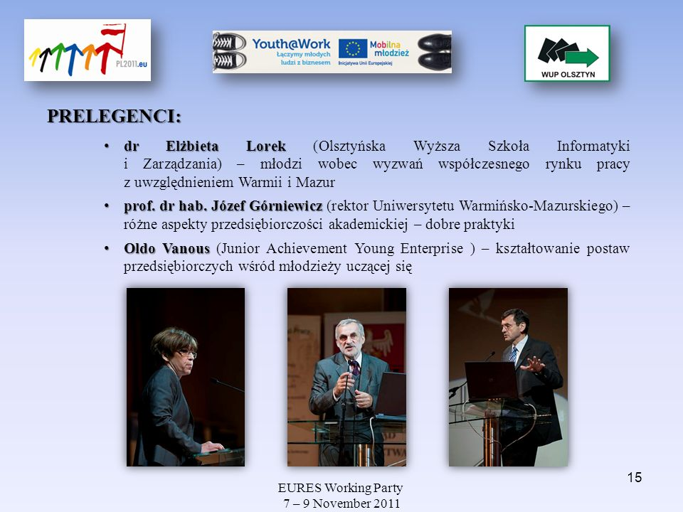 EURES Working Party 7 – 9 November 2011 PRELEGENCI: dr Elżbieta Lorek dr Elżbieta Lorek (Olsztyńska Wyższa Szkoła Informatyki i Zarządzania) – młodzi