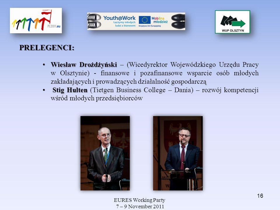 EURES Working Party 7 – 9 November 2011 PRELEGENCI: Wiesław Drożdżyński Wiesław Drożdżyński – (Wicedyrektor Wojewódzkiego Urzędu Pracy w Olsztynie) -