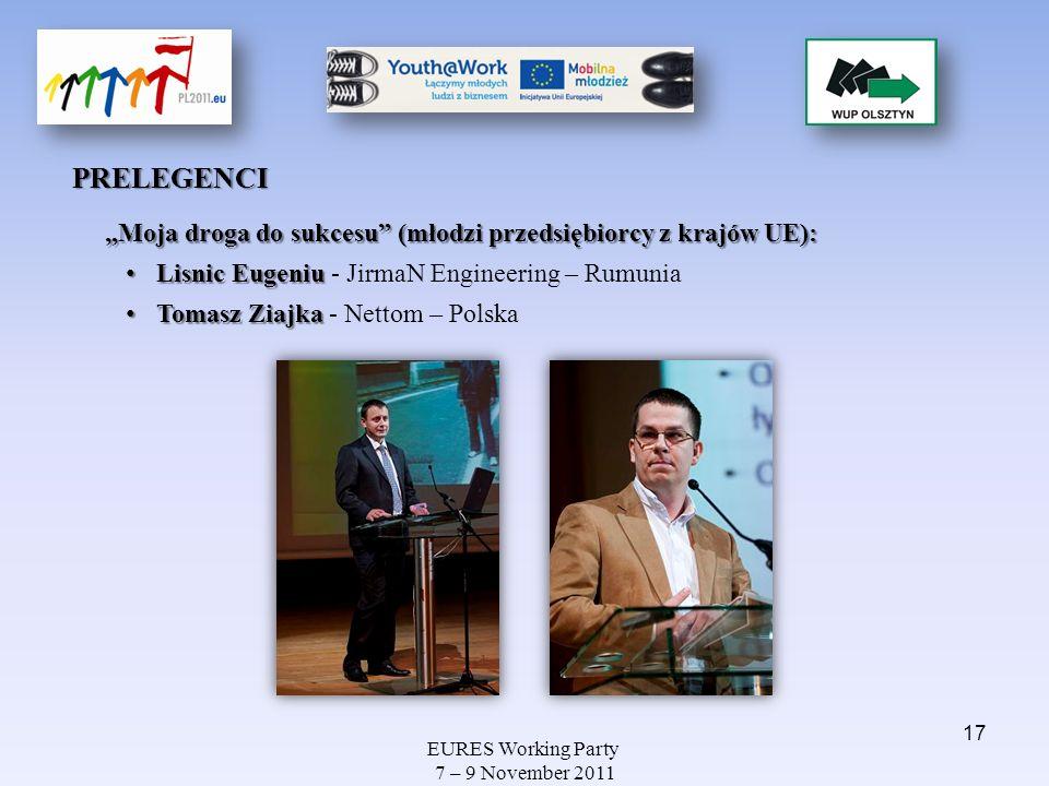 EURES Working Party 7 – 9 November 2011 PRELEGENCI Moja droga do sukcesu (młodzi przedsiębiorcy z krajów UE): Lisnic Eugeniu Lisnic Eugeniu - JirmaN E