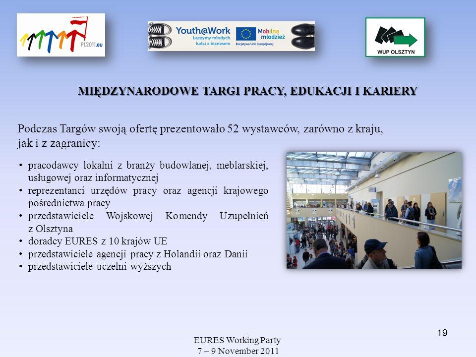 EURES Working Party 7 – 9 November 2011 MIĘDZYNARODOWE TARGI PRACY, EDUKACJI I KARIERY Podczas Targów swoją ofertę prezentowało 52 wystawców, zarówno