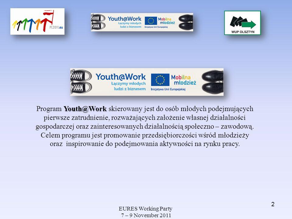 EURES Working Party 7 – 9 November 2011 Youth@Work Program Youth@Work skierowany jest do osób młodych podejmujących pierwsze zatrudnienie, rozważający