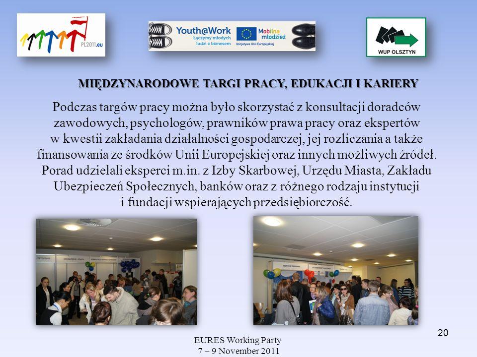 EURES Working Party 7 – 9 November 2011 MIĘDZYNARODOWE TARGI PRACY, EDUKACJI I KARIERY Podczas targów pracy można było skorzystać z konsultacji doradc