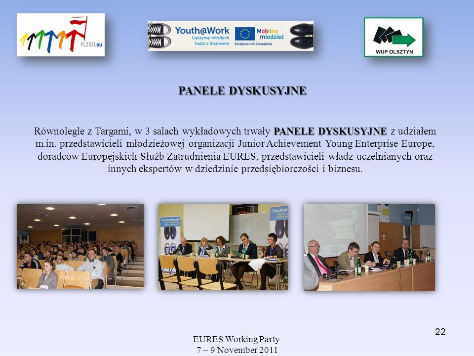 EURES Working Party 7 – 9 November 2011 PANELE DYSKUSYJNE PANELE DYSKUSYJNE Równolegle z Targami, w 3 salach wykładowych trwały PANELE DYSKUSYJNE z ud