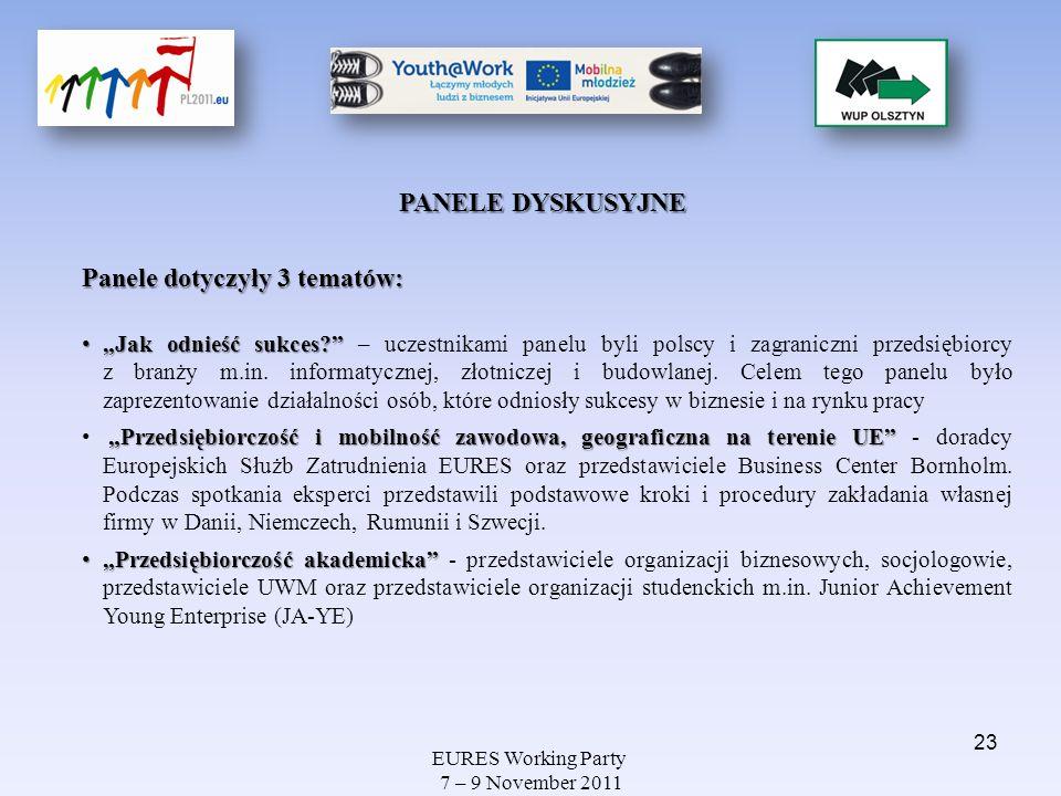 EURES Working Party 7 – 9 November 2011 Jak odnieść sukces? Jak odnieść sukces? – uczestnikami panelu byli polscy i zagraniczni przedsiębiorcy z branż
