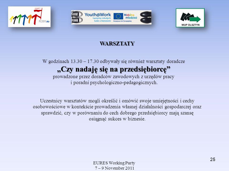 EURES Working Party 7 – 9 November 2011 WARSZTATY Czy nadaję się na przedsiębiorcę W godzinach 13.30 – 17.30 odbywały się również warsztaty doradcze C