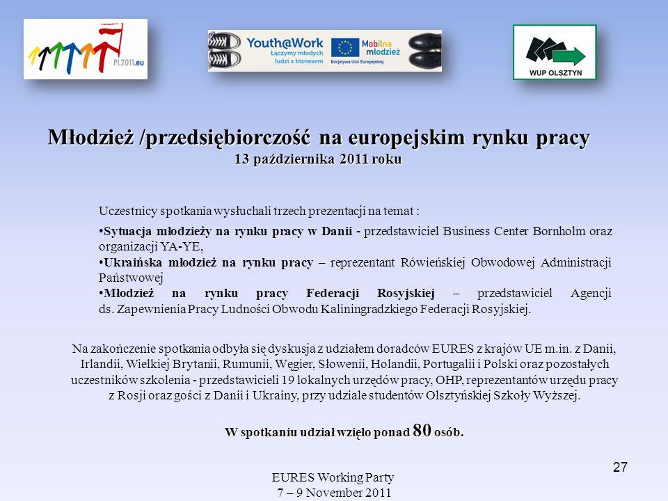 EURES Working Party 7 – 9 November 2011 Młodzież /przedsiębiorczość na europejskim rynku pracy 13 października 2011 roku Uczestnicy spotkania wysłucha