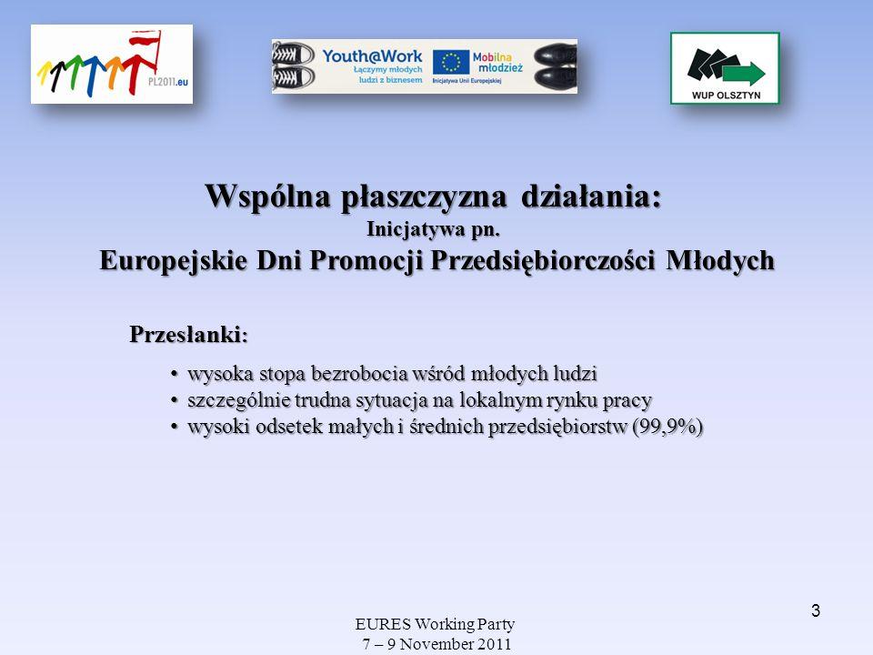 EURES Working Party 7 – 9 November 2011 Wykres: Struktura bezrobotnych w województwie warmińsko- mazurskim według grup wiekowych (wrzesień 2011) 24,6%, 24,3% Stopa bezrobocia wśród osób w wieku 15-24 lata wynosi 24,6%, wśród osób w wieku 20-24 lata – 24,3% (dane wg BAEL, II kwartał br.) 22,3% Osoby w wieku 18-24 lata we wrześniu stanowiły 22,3% ogółu bezrobotnych zarejestrowanych w woj.