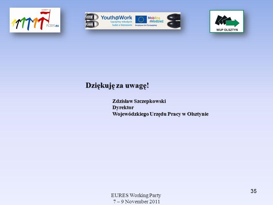 EURES Working Party 7 – 9 November 2011 Dziękuję za uwagę! Zdzisław Szczepkowski Dyrektor Wojewódzkiego Urzędu Pracy w Olsztynie 35