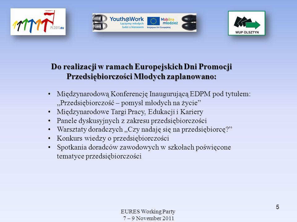 EURES Working Party 7 – 9 November 2011 WARSZTATY Uczestnicy warsztatów: młodzież ze szkół gimnazjalnych i ponadgimnazjalnych naszego województwa studenci olsztyńskich uczelni wyższych młodzi ludzie poszukujący pracy W sumie odbyło się 11 warsztatów, w których udział wzięło 186 młodych osób.