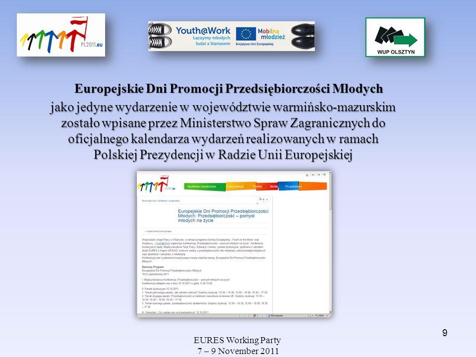EURES Working Party 7 – 9 November 2011 MIĘDZYNARODOWE TARGI PRACY, EDUKACJI I KARIERY Podczas targów pracy można było skorzystać z konsultacji doradców zawodowych, psychologów, prawników prawa pracy oraz ekspertów w kwestii zakładania działalności gospodarczej, jej rozliczania a także finansowania ze środków Unii Europejskiej oraz innych możliwych źródeł.