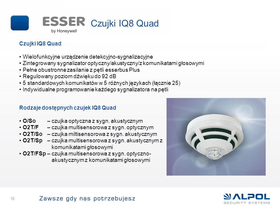 10 Czujki IQ8 Quad Wielofunkcyjne urządzenie detekcyjno-sygnalizacyjne Zintegrowany sygnalizator optyczny/akustyczny/z komunikatami głosowymi Pełne ob
