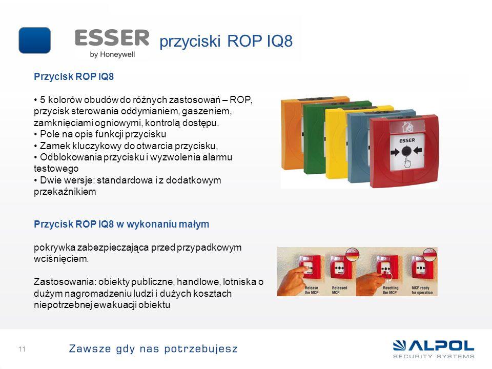 11 Przycisk ROP IQ8 5 kolorów obudów do różnych zastosowań – ROP, przycisk sterowania oddymianiem, gaszeniem, zamknięciami ogniowymi, kontrolą dostępu