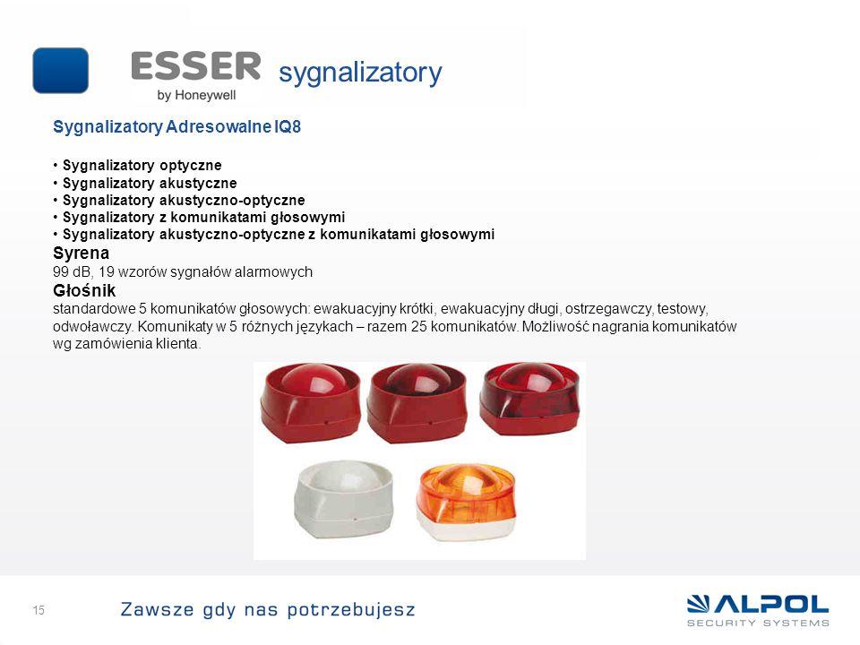 15 Sygnalizatory Adresowalne IQ8 Sygnalizatory optyczne Sygnalizatory akustyczne Sygnalizatory akustyczno-optyczne Sygnalizatory z komunikatami głosow