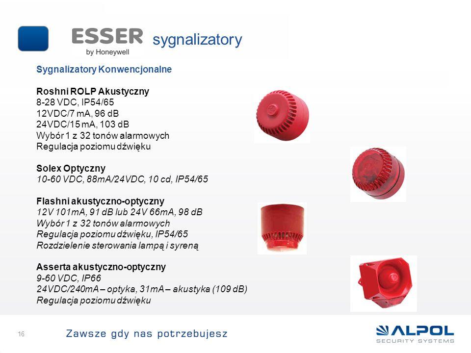 16 Sygnalizatory Konwencjonalne Roshni ROLP Akustyczny 8-28 VDC, IP54/65 12VDC/7 mA, 96 dB 24VDC/15 mA, 103 dB Wybór 1 z 32 tonów alarmowych Regulacja