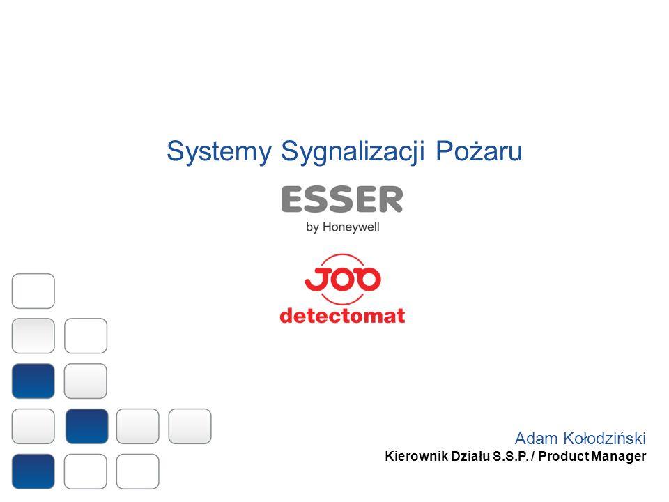 Systemy Sygnalizacji Pożaru Adam Kołodziński Kierownik Działu S.S.P. / Product Manager