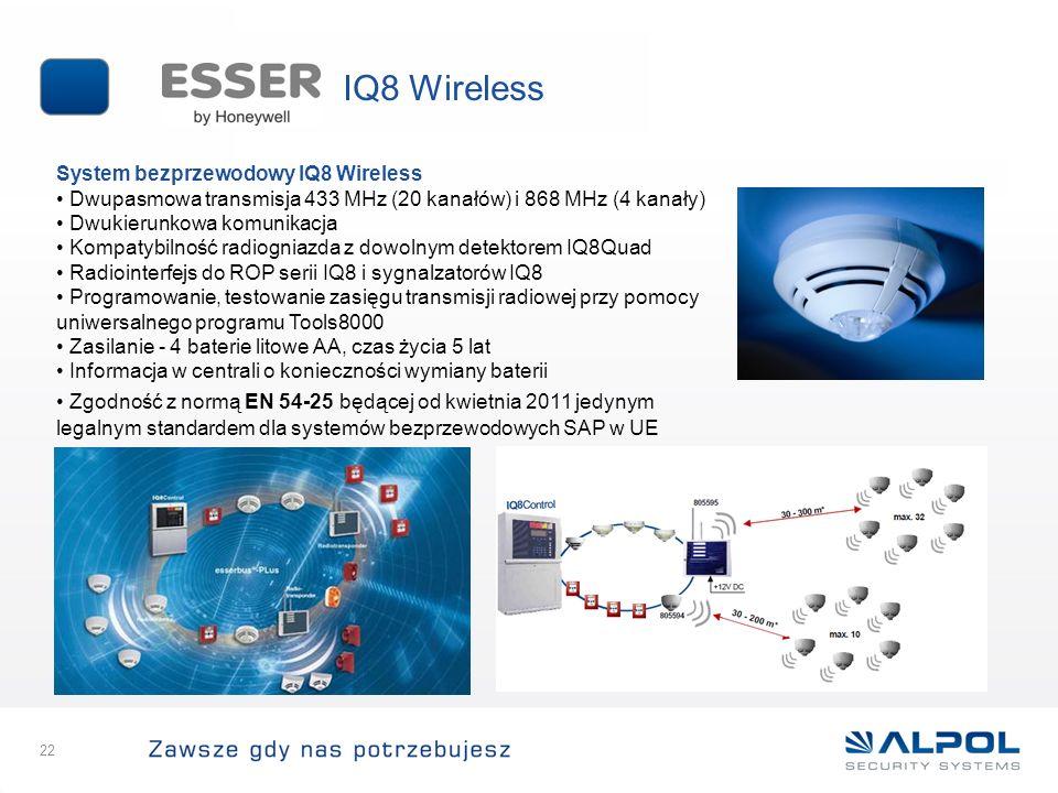 22 System bezprzewodowy IQ8 Wireless Dwupasmowa transmisja 433 MHz (20 kanałów) i 868 MHz (4 kanały) Dwukierunkowa komunikacja Kompatybilność radiogni
