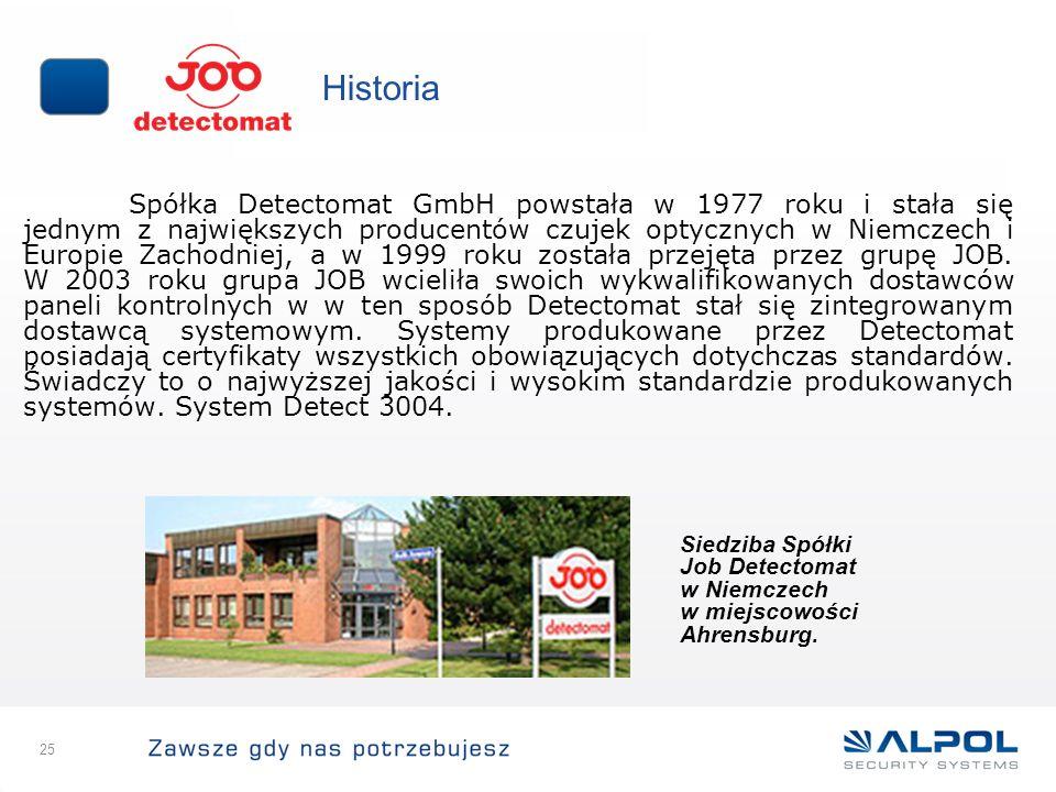 25 Historia Spółka Detectomat GmbH powstała w 1977 roku i stała się jednym z największych producentów czujek optycznych w Niemczech i Europie Zachodni