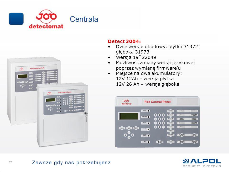 27 Centrala Detect 3004: Dwie wersje obudowy: płytka 31972 i głęboka 31973 Wersja 19 32049 Możliwość zmiany wersji językowej poprzez wymianę firmwareu