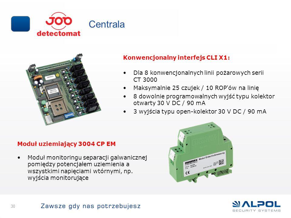 30 Centrala Konwencjonalny interfejs CLI X1: Dla 8 konwencjonalnych linii pożarowych serii CT 3000 Maksymalnie 25 czujek / 10 ROP'ów na linię 8 dowoln
