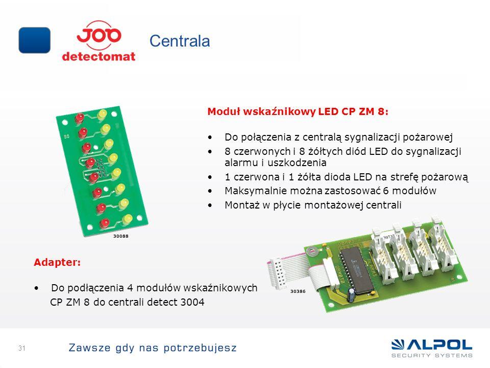 31 Centrala Moduł wskaźnikowy LED CP ZM 8: Do połączenia z centralą sygnalizacji pożarowej 8 czerwonych i 8 żółtych diód LED do sygnalizacji alarmu i