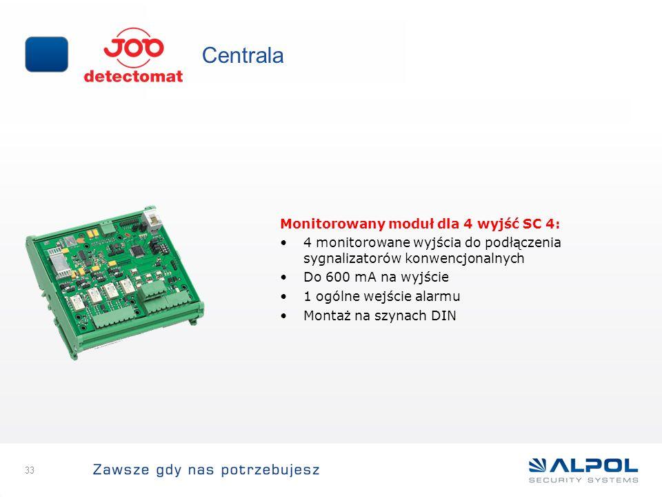 33 Centrala Monitorowany moduł dla 4 wyjść SC 4: 4 monitorowane wyjścia do podłączenia sygnalizatorów konwencjonalnych Do 600 mA na wyjście 1 ogólne w