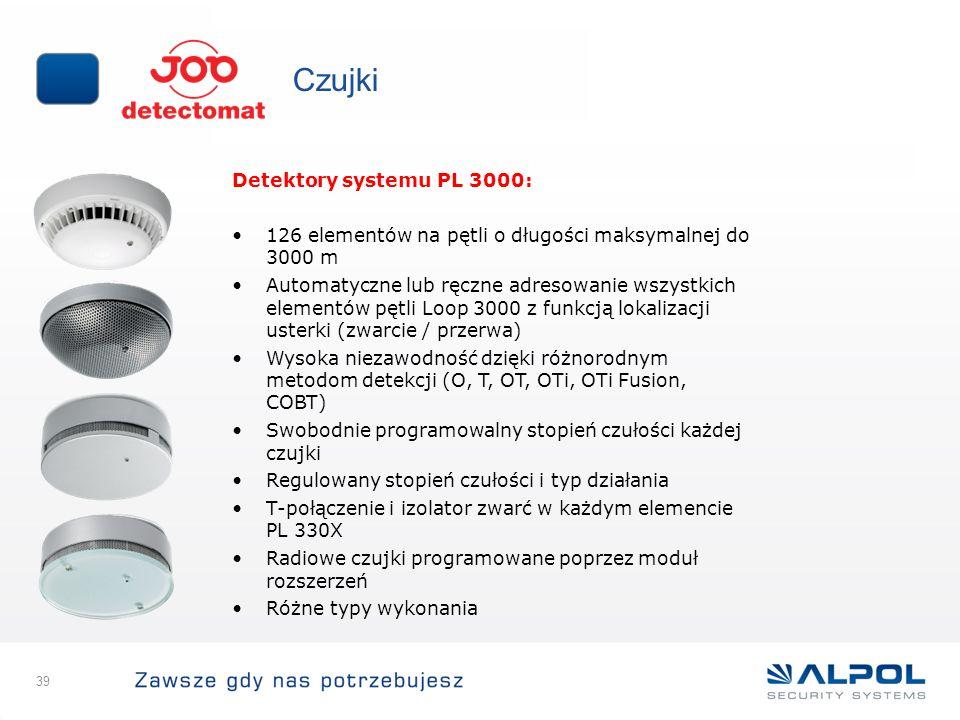 39 Czujki Detektory systemu PL 3000: 126 elementów na pętli o długości maksymalnej do 3000 m Automatyczne lub ręczne adresowanie wszystkich elementów