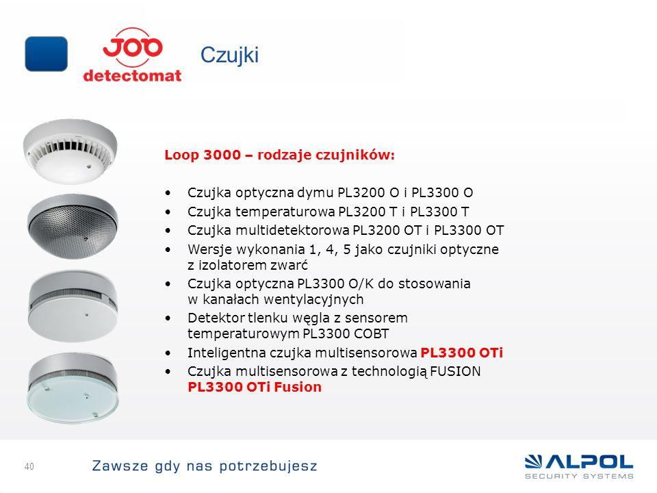 40 Czujki Loop 3000 – rodzaje czujników: Czujka optyczna dymu PL3200 O i PL3300 O Czujka temperaturowa PL3200 T i PL3300 T Czujka multidetektorowa PL3
